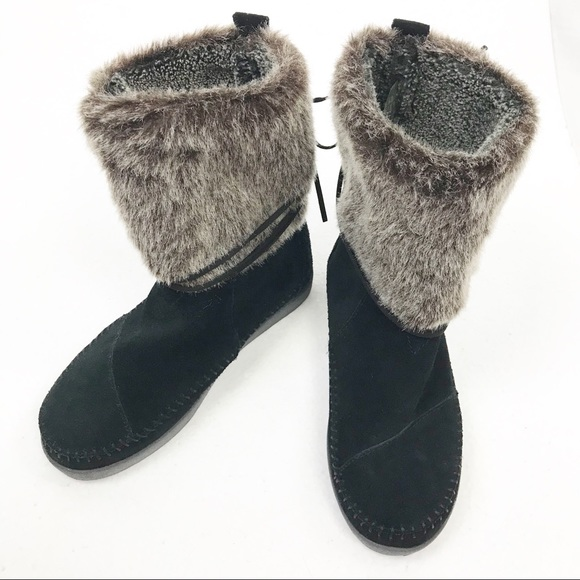 "Toms Shoes - Toms Black ""Nepal"" Suede & Faux Fur Ankle Boots, 6"